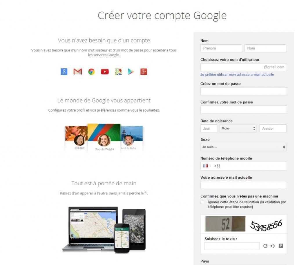 Création compte google