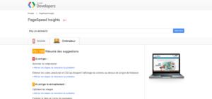 Capture d'écran de Page Speed Insights, permettant de tester la vitesse de chargement de vos pages, un des indicateurs SEO de plus en plus pris en compte par Google.